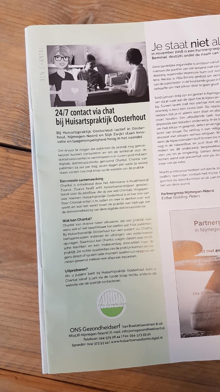 Huisartspraktijk Oosterhout artikel ben er weer